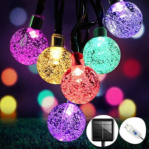 Solar Lichterkette Aussen OMERIL Led Lichterkette Solar mit 50er LED Kristallkugeln, 8M 8 Modi Wasserdicht Outdoor Lichterkette Solar für Garten, Terrasse, Party, Balkon Deko [Energieklasse A+++]