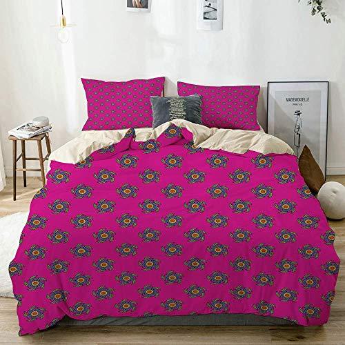 Juego de funda nórdica beige, rosa fuerte, estampado de flores con apariencia de molino de viento, juego de cama decorativo de 3 piezas con 2 fundas de almohada, fácil cuidado, antialérgico, suave y l