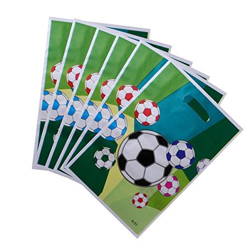 TOYMYTOY 24 bolsas de regalo para fiestas de fútbol, de papel de polietileno, para caramelos, cumpleaños infantiles