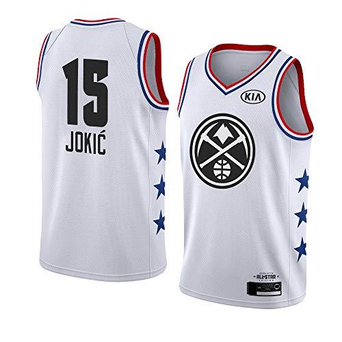 Wo nice Uniformes De Baloncesto De Los Hombres, Denver Nuggets # 15 Nikola Jokic Camisetas De Fans De La NBA Camisetas Sin Mangas Chaleco Deportivo Al Aire Libre Tops,Blanco,XXL(185~190CM)