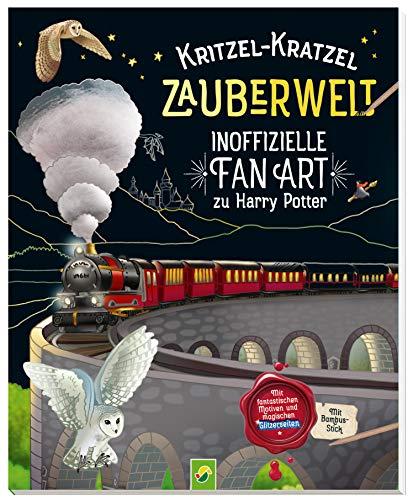 Kritzel-Kratzel Zauberwelt - Inoffizielle Fan Art zu Harry Potter: Mit fantastischen Motiven und magischen Glitzerseiten. Mit Bambus-Stick