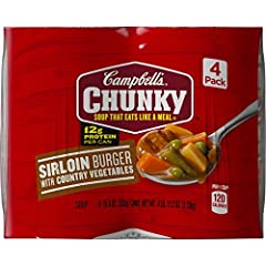 READY TO EAT SOUP: Hearty soup bursting with flavor from seasoned beef and country vegetables, expect spoonfuls loaded with big pieces in bold flavors 12 GRAMS OF PROTEIN: Each can contains 12 grams of protein—Fill Up Right GREAT FOR ACTIVE LIFESTYLE...