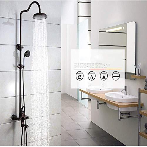 KANJJ-YU Ducha Hermosa práctica de cobre ORB caliente y fría Ronda Conjunto ducha grande ducha Big Top spray Cromo