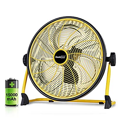 Geek Aire Rechargeable Outdoor High Velocity Floor Fan,16'' Portable 15000mAh Battery Operated Fan with Metal Blade for Garage Barn Gym Camp, Run All Day Cordless Industrial Fan,USB Output for Phone