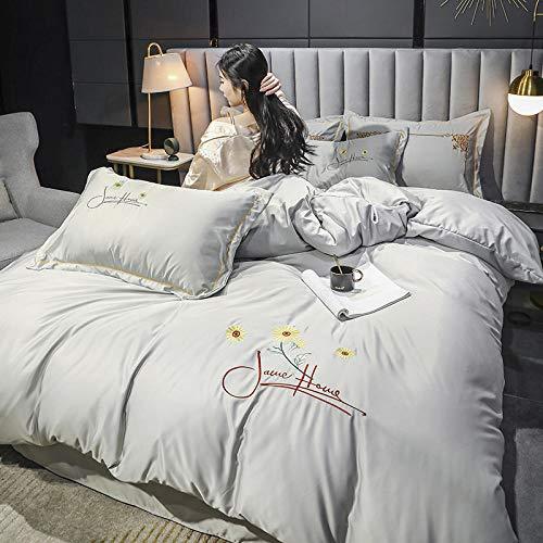Funda Nordica Cama 90 Juveniles,Traje de cuatro piezas de Tencel, luz de verano de lujo de lujo de lujo individual, seda bordada, suave y transpirable, cubierta de cama, ropa de cama con funda de alm
