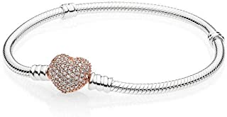 Pandora Moments Silver Bracelet with Rose Pave Heart Clasp 586292