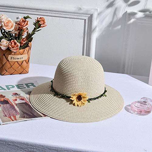 HLSX Hecho a Mano Margarita Decoración Mujeres Sombrero de Punto Joker Sandy Beach Hat Will Together Straw Hat Al aire libre Turismo Sun Hat, beige, 53cm-56cm