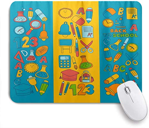 Benutzerdefiniertes Büro Mauspad,ABC Alphabet Numbers Back to School,Anti-slip Rubber Base Gaming Mouse Pad Mat