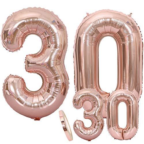 Luftballons Zahl 30 Geburtstag XXL Rose Gold - Riesen Folienballon in 2 Größen 40