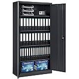 Juskys Metall Aktenschrank Office mit 2 Türen & 4 Einlegeböden | 180 x 90 cm | abschließbar | 2 Schlüssel | anthrazit | Mehrzweckschrank Universalschrank