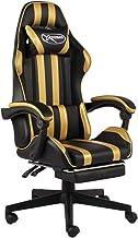 vidaXL Racestoel met voetensteun kunstleer zwart en goudkleurig