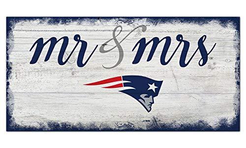 NFL New England Patriots Unisex New England Patriots Script Mr & Mrs Sign, Team Color, 6 x 12
