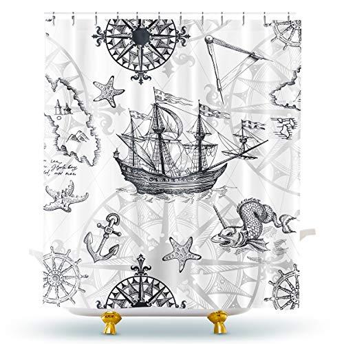 Homewelle Duschvorhang, nautisches Segelboot, grau, Boot, Seestern, Monster, Skizze, Schiff, Rad, Kompass, Anker, 152,4 x 182,9 cm, 12 Stück, Kunststoff-Duschhaken, Polyestergewebe