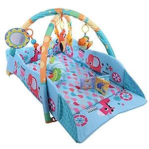 Tosbess Gimnasio de la selva, Tapete de juego suave, Actividad musical, Adecuado desde el nacimiento, 0 meses +, 115 x 98 x 50 cm, Multicolor