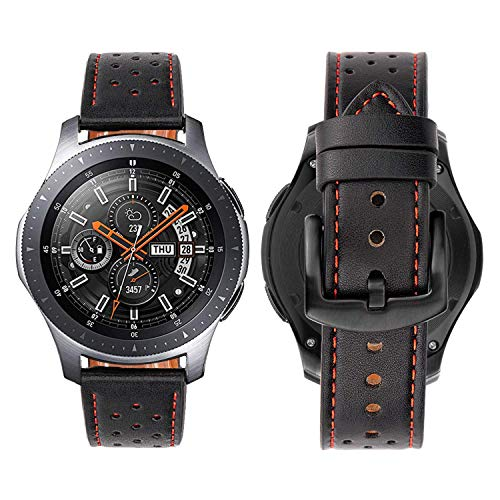iBazal Gear S3 Frontier/Galaxy Watch Bands,Genuine Leather Breathable 22mm Wristband Replacement Strap for Samsung Galaxy Watch 46mm,Samsung Gear S3 Frontier/Classic SM-R760/Pebble Time- Chic Black