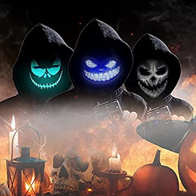 Halloween Led Light Up Mask - LED Mask for Adults, Bluetooth Programmable, Suitable For Halloween Party, Carnivals, The Purge/Ghost/Scary Light Up Mask For Cosplay, Customize Led Mask For Boys, Girls by