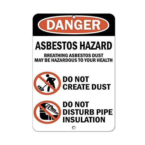 aqf527907 Gevaar Ademhaling Asbest Gevaar Niet Maken Stof Metalen Tekenen Aluminium Waarschuwingsborden Veiligheidsbord Metalen Tin Plaat Schermbord 8x12 Inces
