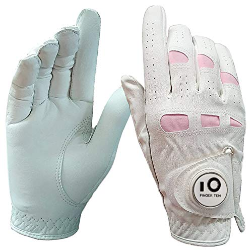 FINGER TEN Women's Golf Glove Right Hand with Ball Marker Leather Grip 1 Pack, Pink Fit Woman Girl, Size Small Medium Large XL (Medium, 1 Pcs Worn on Right Hand)