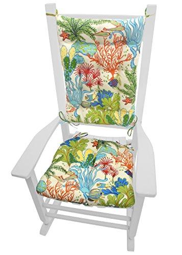 Splish Splash Porch Rocker Cushions - Indoor/Outdoor: Fade Resistant, Waterproof - Latex Foam Fill Rocking Chair Seat Cushion & Backrest Pad Set (Extra-Large, Tropical Fish)