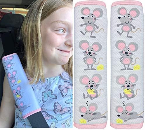 2x protector de cinturón de seguridad HECKBO con encantadores dibujos de ratones: cinturón de seguridad, almohadilla para el hombro, cojín para el hombro, funda de cinturón, asiento para el coche