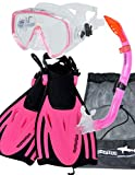 AQUAZON Miami Schnorchelset, Schwimmset, Tauchset, Taucherbrille mit Anti Fog Tempered Glas, Silkon,...