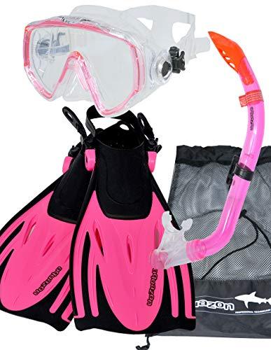 AQUAZON Miami Schnorchelset, Schwimmset, Tauchset, Taucherbrille mit Anti Fog Tempered Glas, Silkon, Semi Dry Schnorchel, verstellbare Flossen für Kinder, Größe:32/37, Farbe:pink