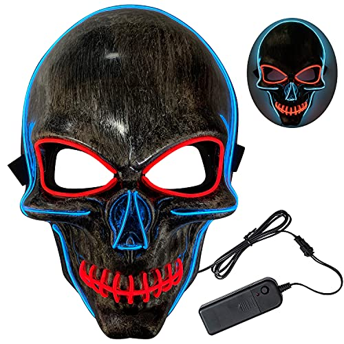 Halloween Led Masks for Adults – LED Light up Masks Scary Purge Mask 3 Modes Adjustable Holiday Masquerade Cosplay Halloween Festival Party (Ice blue+red)