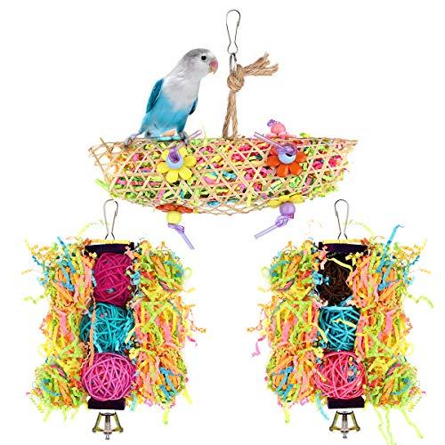 Pawaboo Vogelspielzeug, 3 Pack Schaukel Kauen Zubehör mit Glocken Wellensittich Spielzeug Papageien Hängematten für kleine Vögel Sittiche Nymphensittiche Lovebirds Kolibris Finken