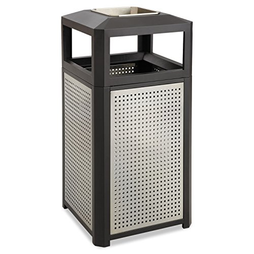 Safco Products Evos Outdoor/Indoor 9935BL Trash Can with Stainless Steel Ashtray Urn, 38 Gallon, Black
