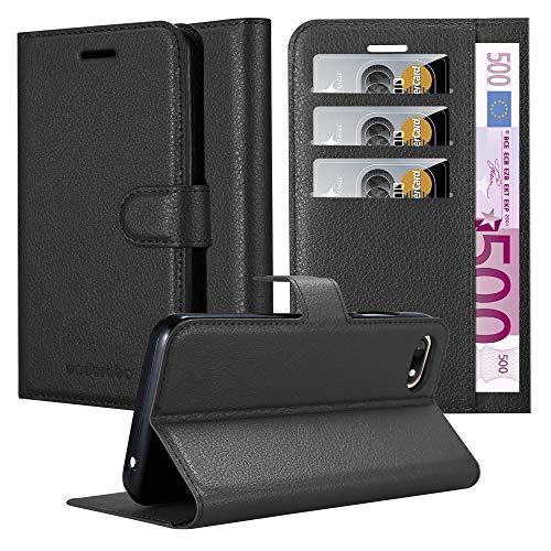 Cadorabo Coque pour WIKO Sunny 3 en Noir DE Jais - Housse Protection avec Fermoire Magnétique, Stand Horizontal et Fente Carte - Portefeuille Etui Poche Folio Case Cover