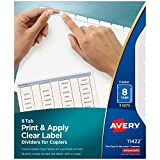 AVERY 8-Tab Binder Dividers, Easy Peel Clear Labels for Copiers, Index Maker, White Tabs, 5 Sets (11422)