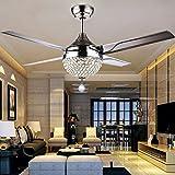 Moderno ventilador de techo de cristal retráctil,lámpara LED,3 luces de cambio,4 cuchillas de acero inoxidable con mando a distancia para salón/dormitorio,44' luz de ventilador,lámpara de techo