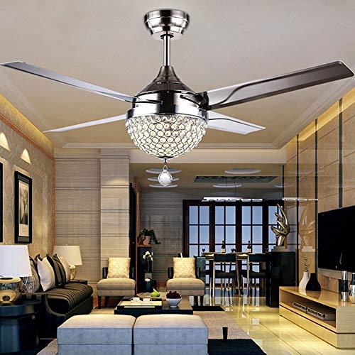 Moderno ventilador de techo de cristal retráctil,lámpara LED,3 luces de cambio,4 cuchillas de acero inoxidable con mando a distancia para salón/dormitorio,44