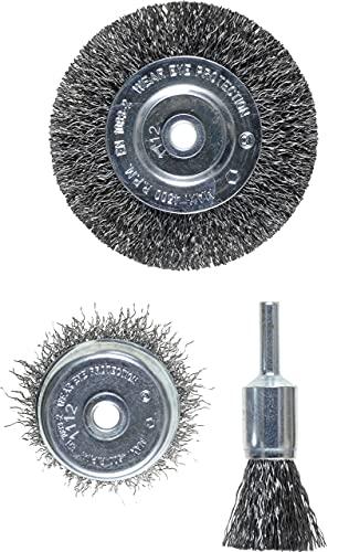 kwb Drahtbürsten-Satz, 3-teilig - Set aus Stahl-Draht, gewellt, inkl. Scheiben-Bürste, ideal zum Entrosten und für Reinigungs- und Schleifarbeiten