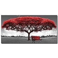 リビングルーム、オフィス、枠なしのために描いたウォールアートキャンバス絵画、現代の赤い秋の木の壁アートキャンバスポスター印刷の壁の絵ホームデコレーション,70×140cm