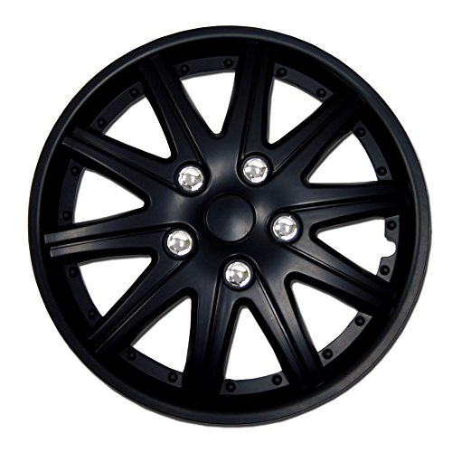 TuningPros WSC-027B14 Hubcaps Wheel Skin Cover 14-Inches Matte Black Set of 4