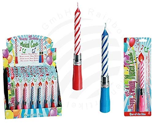 Happy Birthday Musical Party Candle - Blue