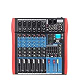 XTUGA Professional 7 Channels Audio Mixer Sound Board Console ES602 USB/MP3/Bluetooth Stage Audio Mixer Built-in Digital Effect Music Mixer USB Computer Recording +48Vpower (red)