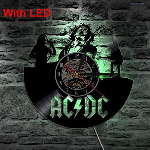 SOKIMI ACDC Rock Band Wand Vinyl Uhr Led Wandbeleuchtung Farbwechsel Vintage LP Rekord Dekor Handgefertigte Licht Haus dekorative,Withlights