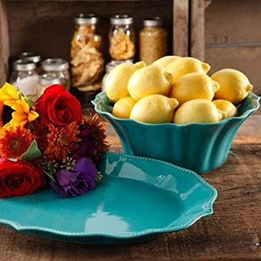 The Pioneer Woman Paige 2-Piece Serving Set with 10  Serving Bowl and 14  Serving Platter, Glaze Stoneware, Turquoise