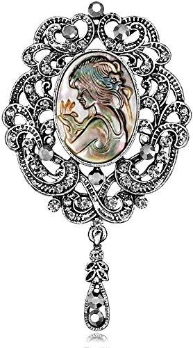 HJ Mode Weibliche Brosche Damen Brosche Retro Geprägte Schönheit Avatar Artknit Hemd-Schal-Schal-Brosche-Tanz-Party-Zubehör Geburtstags-Geschenke Schmuck,B,Freie Größe