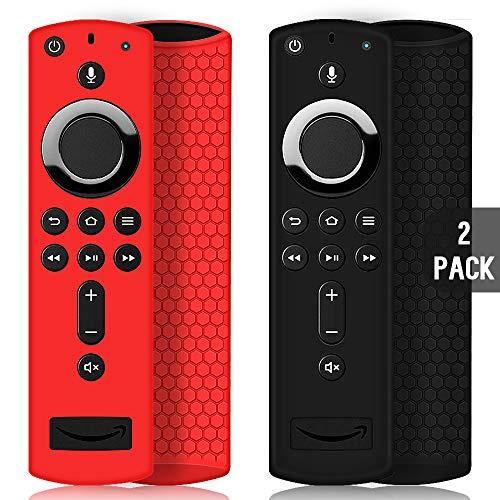 2 Pack Custodia per Telecomando Fire TV Stick 4K/4K Ultra HD con il Nuovo 2a Gen Alexa Voice Telecomando, Leggera Antiscivolo Antiurto Custodia in Silicone per Remote Controller (Nero & Rosso)