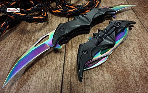 New! Batman Dark Knight Bat Spring Assisted Open Folding Double Blade Dual Twin 3 Colors Pocket Knife Tactical Belt Clip Black Gold Rainbow Knives Great Gift (Rainbow)