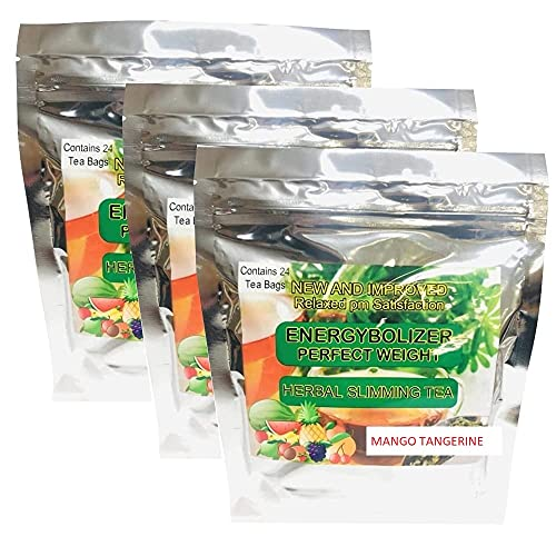 Energybolizer Perfect Weight Herbal Slimming Tea (24 Bags)  Natural Weight Loss and Metabolism Booster for Women and Men   Herbal Detox and Colon Cleanser for Better Digestive Health (Mango Tangerine - 3 Pack)