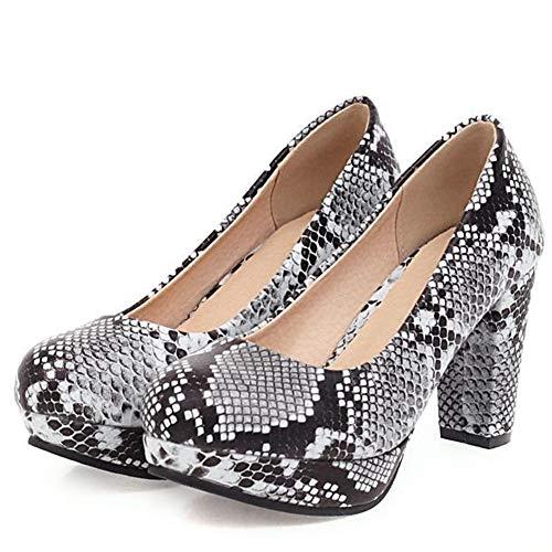 GAO-bo Zapatos de tacón alto para mujer de moda sediento, tacón grueso, suela de goma antideslizante, forro transpirable de 9 cm (color: C, tamaño: EU37)