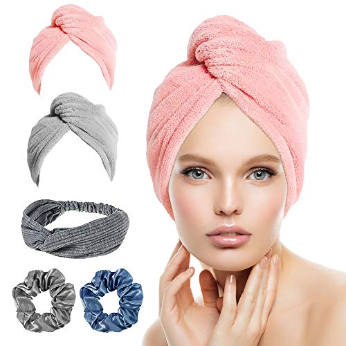 MROTY Microfiber Hair Towel Wrap Turban, 5 Pack Hair Drying Towels with (Hair Band & Hair Scrunchies),Quick Dry Towel Hair Turbans,Anti Frizz Super Absorbent & Soft Hair Towels for Women Girl