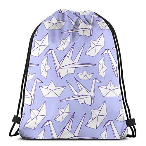 Mochila con cordón de impresión de origami púrpura claro bolsa de cuerda Cinch resistente al agua nylon playa bolsa para gimnasio compras deporte Yoga