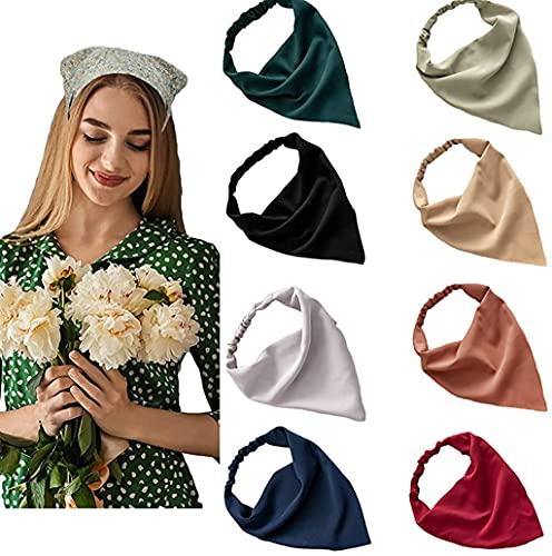 Elastic Hair Scarf Headbands for Women Solid Bandana Headbands Chiffon Head Kerchief Boho Scarf Bandanas with Hair (8 Colors Solid A)