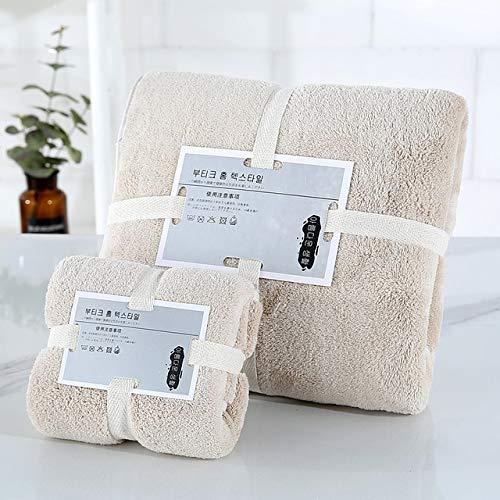 2 unids / set juego de toallas de baño de Color sólido, toalla de baño gruesa grande, toallas de baño para la cara, toallas de ducha para el hogar para adultos y niños-khaki B-70x140cm and 35x75cm