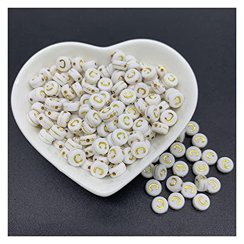WanXingY 100 unids/Lote de 7 mm Beads de Alfabeto de Oro acrílico Perlas Espaciador 26 Cuentas del Alfabeto para joyería Haciendo Bricolaje Creativo Hecho a Mano Encanto Pulsera (Color : C)
